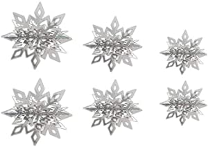 6 Pcs/Set 3D Hollow Snowflake Paper Garland for Christmas Tree Wall Hanging Decoration Winter Party (Silver)