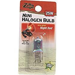 Zilla Reptile Terrarium Heat Lamps Mini Halogen Bulb, Night Red, 25W