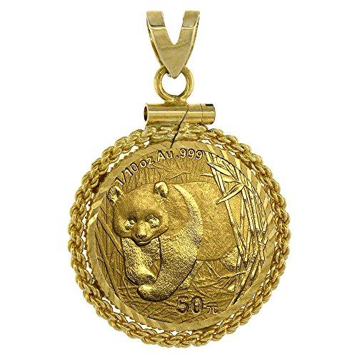 Screw Top Rope (14k Gold 1/10 Gold Panda Bezel Thin Rope 18mm coin Screw Top)