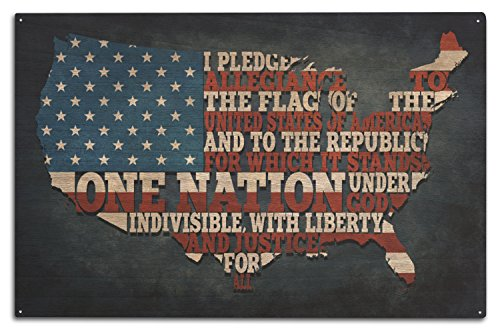 Americana Framed (Americana - Pledge of Allegiance (10x15 Wood Wall Sign, Wall Decor Ready to Hang))