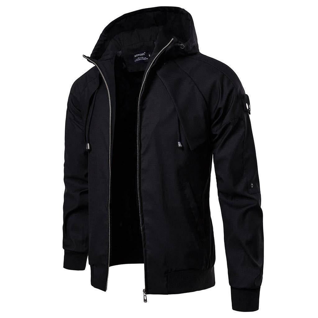 Simayixx Men's Jacket Men's Mountain Waterproof Ski Coats Windproof Rain Hoodie Sweatshirts Workout Zipper Tops Shirts 2XL Black by Simayixx (Image #1)