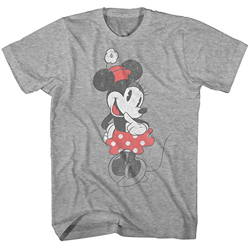 (Disney Sweet Shy Minnie Mouse Adult Mens T-shirt Heather Grey)
