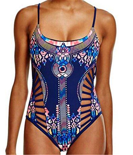 SHUNLIU Traje de Baño Mujer Bikini Atractiva Bikini Traje de Baño Impresión Mujer Bañadores Ropa de Baño Blanco Azul