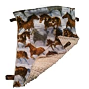 Reversible ~ Horses & Fur ~ Oversized Cuddle Blanket with Ribbon Tags by Abuela Chachy's