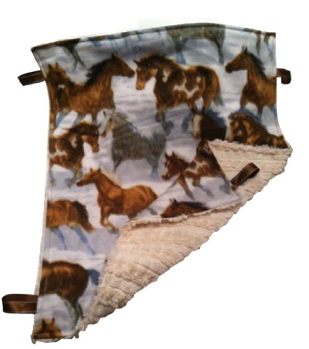 Reversible ~ Horses & Fur ~ Oversized Cuddle Blanket with Ribbon Tags by Abuela Chachy's Oversize Tag