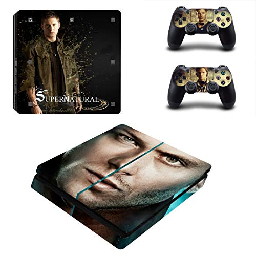 Price comparison product image Decal Moments PS4 Slim Console Skin Set Vinyl Decal Sticker for Playstation 4 Slim Console Dualshock 2 Controllers-Dean Sam Winchester (PS4 Slim Only)