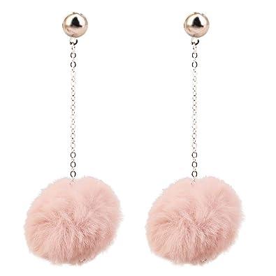 8af6b1276b44f8 Soft Velvet Collection Light Blush Pink Pom Pom Drop Dangle Studs Earrings  E1381: Amazon.co.uk: Jewellery
