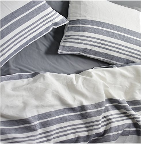 (Tahari Stonewashed 100-percent Linen Duvet Quilt Cover Pure Genuine Soft Washed Flax Elegant 3 Piece Luxe Bedding Set Yarn Dyed Natural Tan Taupe Cream (Queen, Grey Navy))