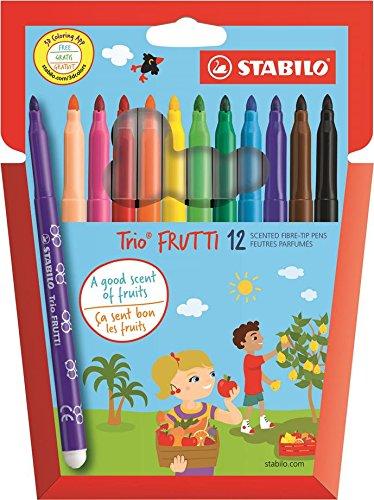 Feutre de coloriage - STABILO Trio Frutti - Étui carton de 12 feutres pointe moyenne (encre parfumée) - Coloris assortis 290/12-01