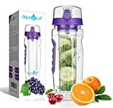 AquaFrut Large 32oz Fruit Infuser Water Bottle (Purple) Includes Bonus Brush