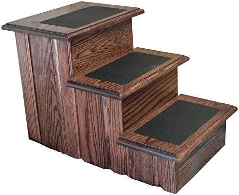 Premier Pet Steps Tall Raised Panel Dog Steps, Solid Oak Tread with Non Slip Surface in a Rich Cherry Stain, 17-Inch