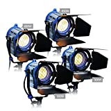 Alumotech Dimmer Built-in Fresnel Tungsten 300WX2+650WX2 1900W Spotlight Halogen Lamp Studio Video Light Kit For Camera Photographic Lighting Compatible Arri Bulb
