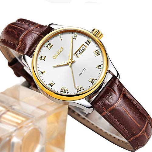 Ladies Watch with Date and Day,Brown Leather Watch Women Small Face,Women Lady Dress Analog Quartz Watch,Casual Fashion Waterproof Female Watches Roman Numeral Luminous Wristwatch