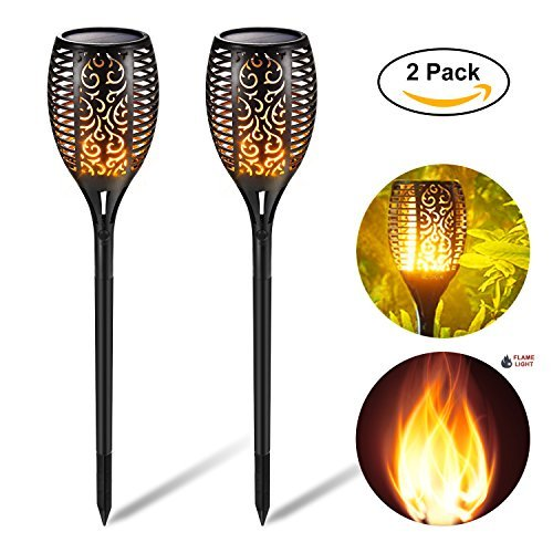 """51%2BFdNjTpcL - WallyDeals 30"""" Solar Lights Dancing Flame Light 96 LED Waterproof Wireless Flickering Torches Path Lightning Outdoor Dusk to Dawn for Garden Patio Yard Driveway Pool (Pack of 2)"""