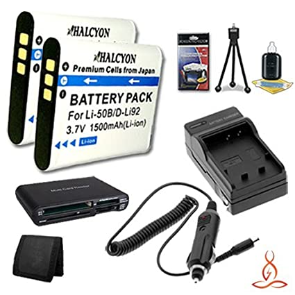 WG-1 WG-20 Digital Cameras and Pentax D-LI92 WG-2 Multi Card USB Reader Memory Card Wallet Deluxe Starter Kit for Pentax Optio WG-3 Ricoh WG-4 Four Halcyon 1500 mAH Lithium Ion Replacement D-LI92 Batteries
