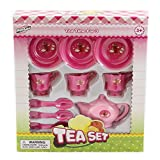 Wholesale 10 Piece Tea Play Toy Set for Children Includes Tea Cups, Saucers, Spoons, and Kettle - Case of 48
