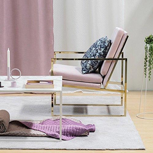 Pink Armchair Velvet Lounge Chair, Brass Plated Gold Finish Steel/Metal Frame, 1 Seat Luxury Sofa for Living Room Bedroom Cafe Scandinavian Design