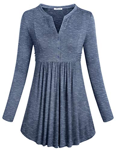 Autumn Clothes for Women Work, Female Casual Tops Long Sleeve V Neck High Waist Ruched Draped Loose and Comfortable Button Tunic Roomy Maternity Top Space Dye Gray -