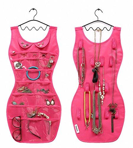 IDecHome Dress Shape Hanging Jewlery Organizer, Dual Sided P
