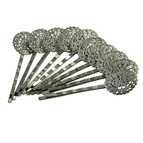 Jet Filigree - MonkeyJack 10Pcs Hematite Jet Black Filigree Hair Clip Bobby Pin Headwear Oval Flower
