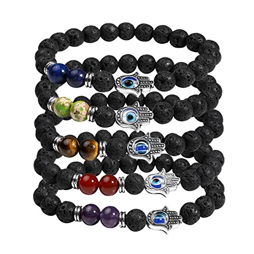 Milakoo 5 Pcs 7 Chakra Lava Rock Hamsa Hand Evil Eye Beads Bracelet for Women & Men Healing (Evil Eye Jewelry Meaning)