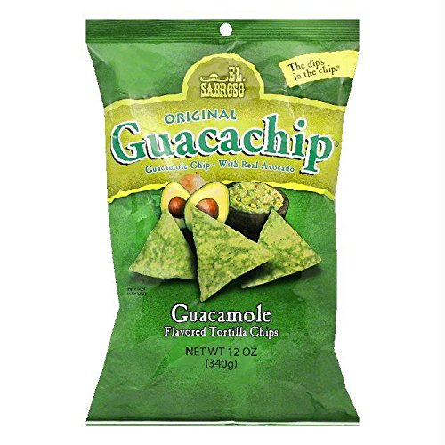 El Sabroso Guacachip, Guacamole Flavored Tortilla Chips, 12-Ounce Package