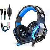 Salandens Auriculares para Juegos Audífonos Gamer con Micrófono para PS4 Xbox One PC, Diadema Auriculares Alámbrico…