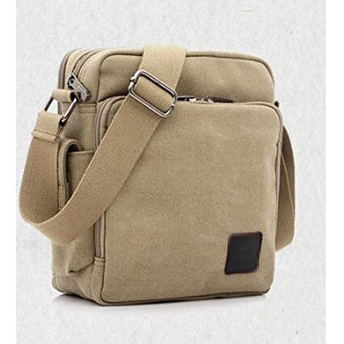 Men Bag Bag Zipped Casual Laptop Vintage Canvas Business Shoulder Multicolor Crossbody Crossbody Lightkhaki Boy For Bag 4PYdqUYw