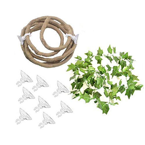 (Tfwadmx Bend-A-Branch Jungle Vines, Artificial Ivy Leaf Pet Habitat Decor for Lizard,Frogs, Snakes and More Reptiles)