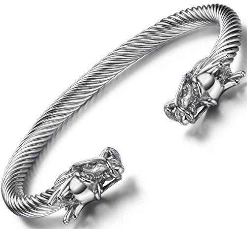 - OSTAN Men's Double Head Dragon Bracelet Adjustable Stainless Steel Sliver Cuff Cool Polished (Sliver)