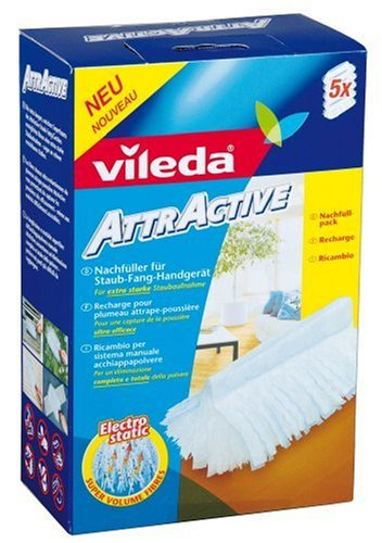 Vileda 111438 AttrActive Ersatzbezüge für Handstaubgerät - Einfaches Abstauben ohne Aufwirbeln, dank elektrostatischer Fasern - Inhalt: 5 Stück
