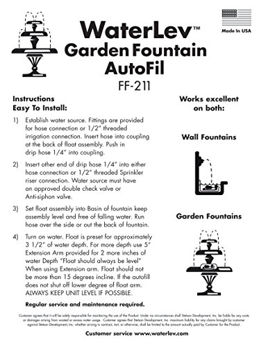 WaterLev Auto Fill System for Outdoor Fountains, Maintains the Water Level in your Fountain