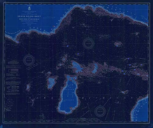 - Vintography 18 x 24 Canvas Wrap Blueprint Style Nautical Chart of Beaver Island Group Including North Shore of Lake Michigan from WAUGOSHANCE Point to SEUL CHOIX Point. 1911 Lake Survey 95a