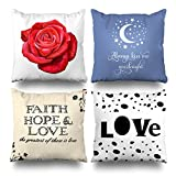 ONELZ Love Rose Kiss Goodnight Kisses Quote Faith Hope Square Decorative Throw PillowCase Two Sides Printed, Fashion Style Zippered Cushion Pillow Cover (18 x 18 inch,Set of 4)