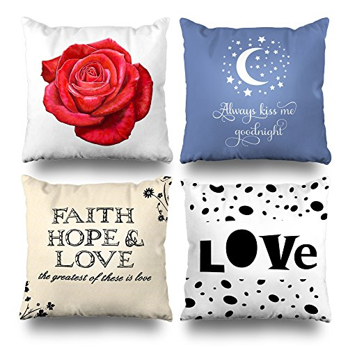 ONELZ Love Rose Kiss Goodnight Kisses Quote Faith Hope Square Decorative Throw PillowCase Two Sides Printed, Fashion Style Zippered Cushion Pillow Cover (18 x 18 inch,Set of 4) by ONELZ