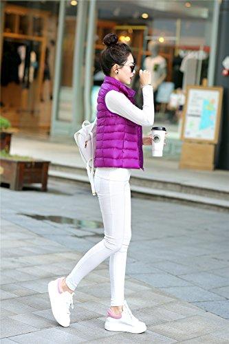 Gilet sans Femme Violet Manches Doudoune Quibine Jacket Montant Col 5zgZwz