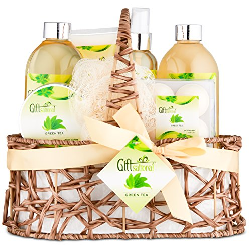 Set Birthday Gift Happy (Spa Gift Basket with Refreshing Green Tea Fragrance - This 10 Piece Gift Set Includes Bubble Bath, Shower Gel, Body Scrub, Body Spray, Fizzers & more - Great Gift for Birthday, Holiday or Anniversary)