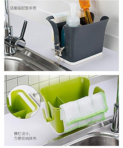 VT BigHome Self Draining Sink Caddy Organizer Grey Brush Sponge Holder Tidy