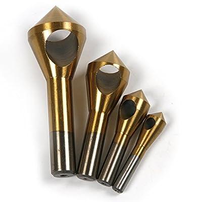 Atoplee Chamfer Countersink Deburring Drill Bit Set Crosshole Cutting Metal Tool