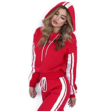 fceeb50887d Amazon.com  GIA Tracksuit for Women 2 Piece Set Suit Hooded Hoodies Pants  Red White  Clothing