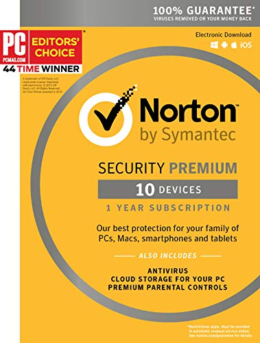 Symantec Norton Security Premium - 10 Devices - 1 Year Subscription [PC/Mac/Mobile Key Card]