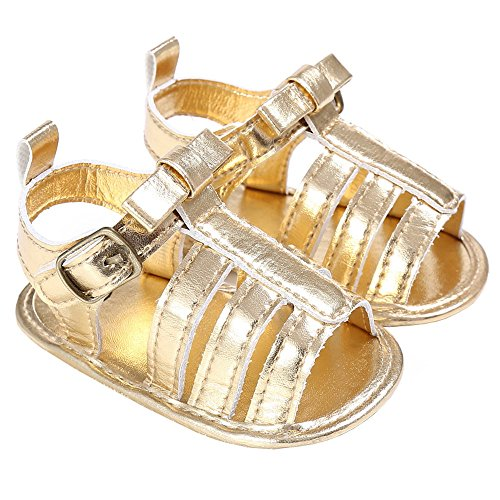 Baby Girls Summer Strappy Braided Gladiator Sandals Beach Flat Shoes Golden Size S