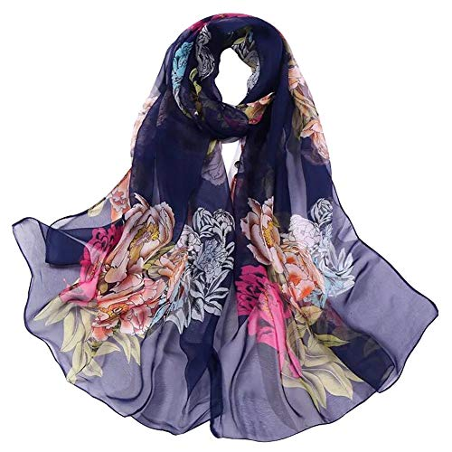 Ladies Scarf - Women's Polyester Chiffon Scarf Neck Fashionable Printing Floral Country Style Lightweight scarves for Ladies and Girls (17)
