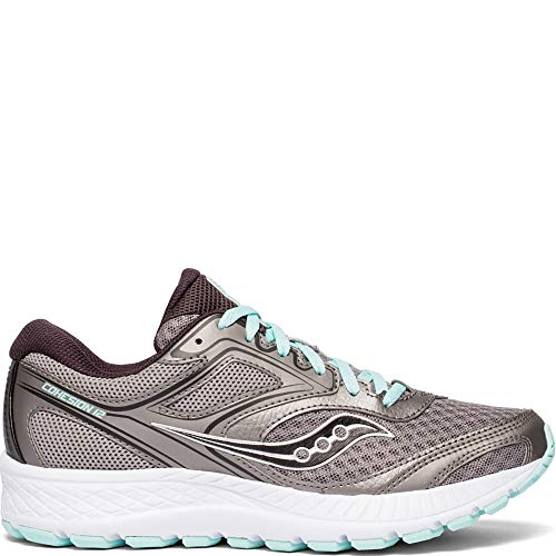 Saucony Women's VERSAFOAM Cohesion 12 Road Running Shoe, Grey/Teal, 9.5 W US