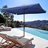 Yescom Metal Patio Umbrella 6 Ribs Market Table Umbrella Tilt Hand Crank Outdoor Rectangular Sunshade Cover
