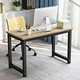 Computer Desk, LITTLE TREE Modern Simple Office Desk Study Writing Desk / Table Workstation for Home Office, Metal Frame (Walnut + Black Leg)