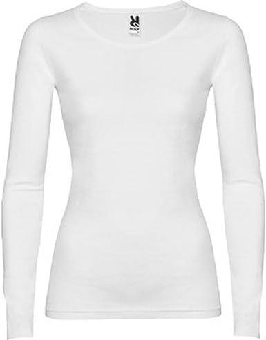 Camiseta básica Mujer Manga Larga - 100% algodón (M, Blanco ...