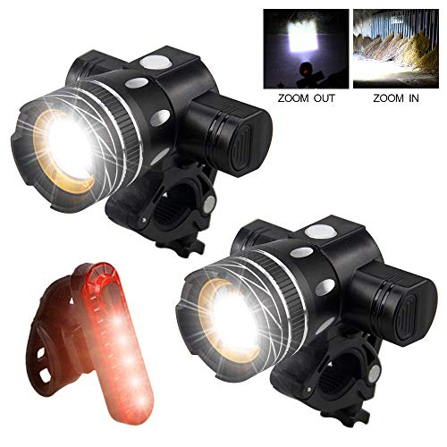VASTFIRE Pack of 2 Adjustable Focus Handlebar Bike Light Front 3 Mode USB Rechargeable Bicycle Headlight and 1 Warning Rear Light Cycling Tail Lamp fits Mountain, Road Bicycles
