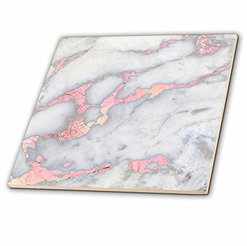 3dRose Luxury Grey Rose Gold Gem Stone Marble Glitter Metallic Faux Print Tile, 12 x 12