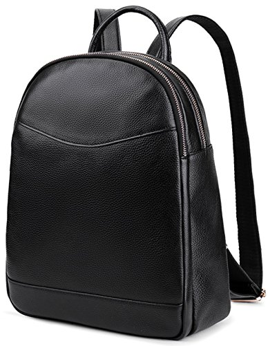 Coolcy Genuine Leather Backpack for Women Hotstyle Casual Bookbags (Black) by COOLCY